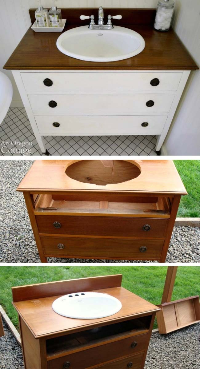 DIY Dresser Turned Into Bathroom Vanity #diy #furniture #makeover #repurpose #decorhomeideas