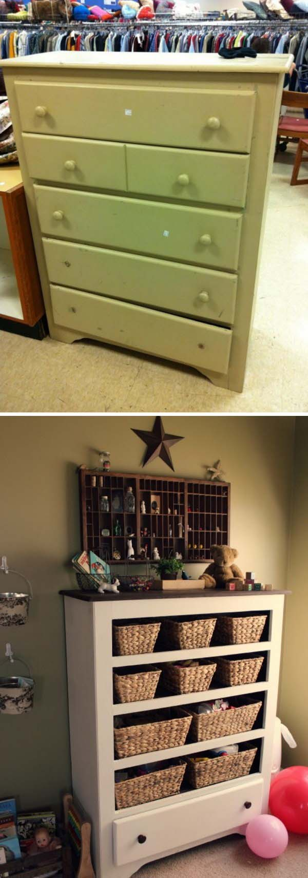DIY Old Dresser Into Storage #diy #furniture #makeover #repurpose #decorhomeideas
