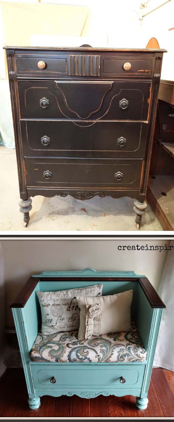 DIY Dresser Turned Bench #diy #furniture #makeover #repurpose #decorhomeideas