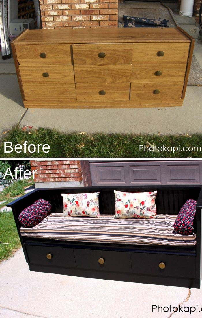 Old Dresser To Bench Makeover #furniture #makeover #diy #decorhomeideas