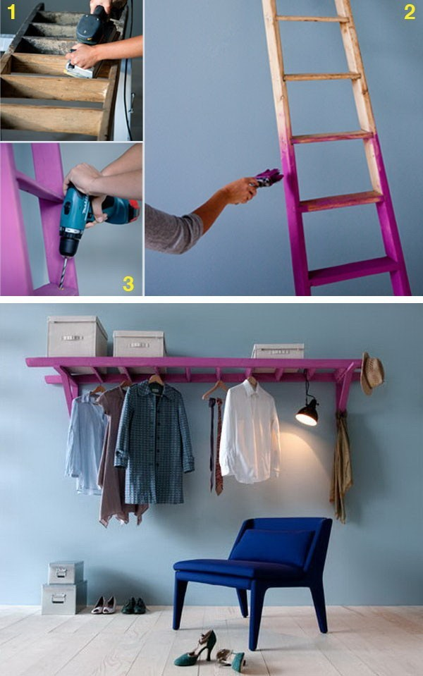 Old Ladder To Clothes Rack-Makeover #furniture #makeover #decorhomeideas