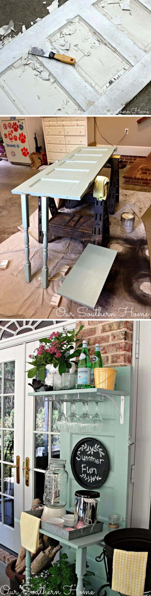 Old Thrift Door To Beverage Station #furniture #makeover #diy #decorhomeideas