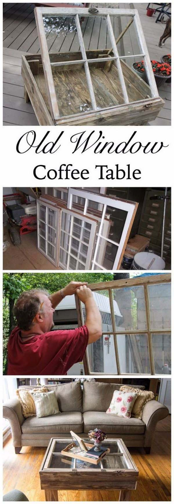 How to make coffee table from old window #diy #furniture #makeover #repurpose #decorhomeideas