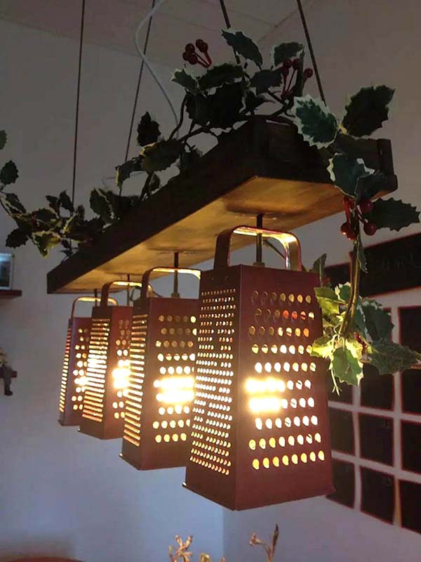 Hanging Light Made From Old Cheese Graters  #repurpose #reuse #kitchen #utensil #decorhomeideas