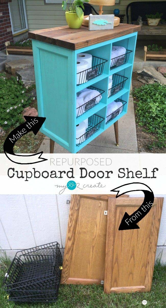 DIY Cupboard Door Shelf  #diy #furniture #makeover #repurpose #decorhomeideas