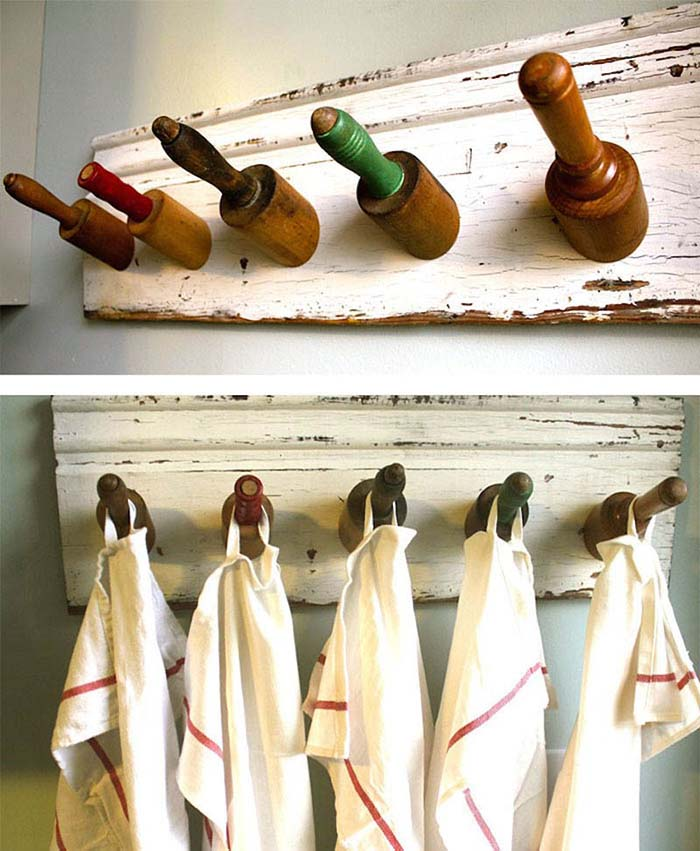 DIY Hooks From Old Rolling Pins #repurpose #reuse #kitchen #utensil #decorhomeideas