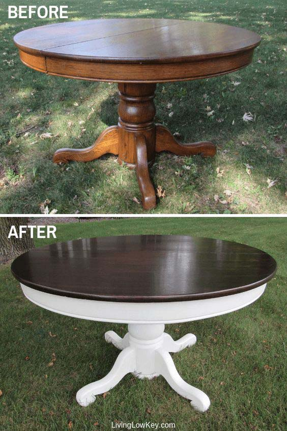 Round Farmhouse Table Makeover #furniture #makeover #diy #decorhomeideas