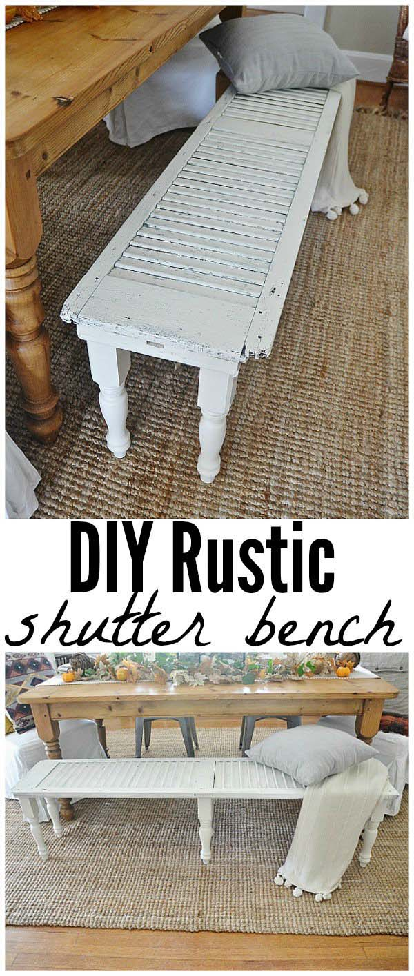 Rustic Bench From Old Shutters #furniture #makeover #diy #decorhomeideas