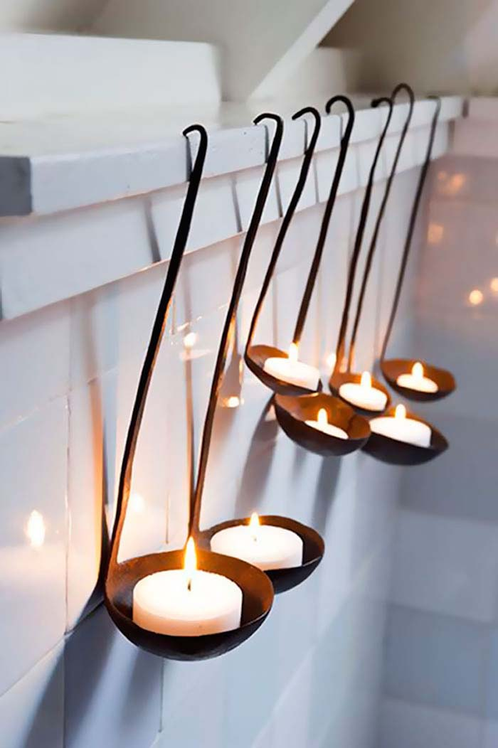 Old Soup Ladles Turned Into Candles #repurpose #reuse #kitchen #utensil #decorhomeideas