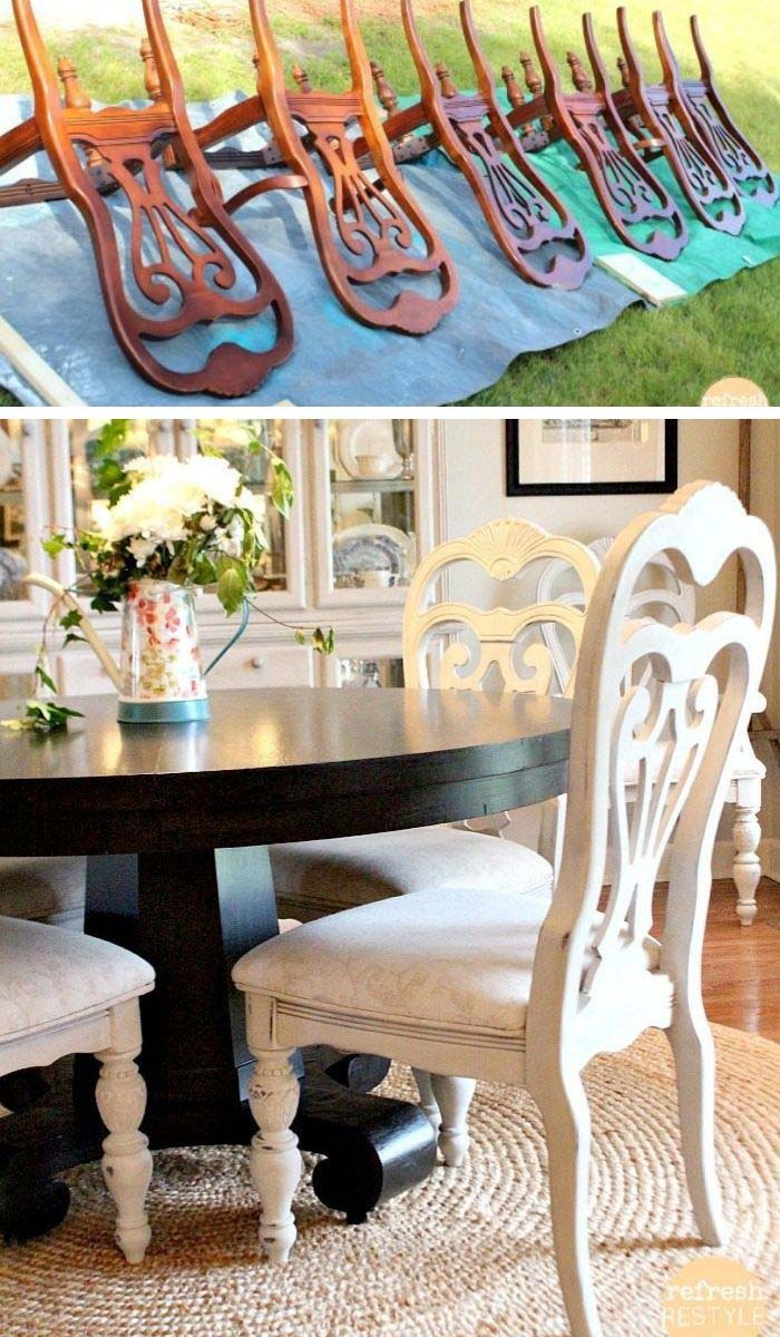 Spray Paint Chairs #furniture #makeover #diy #decorhomeideas