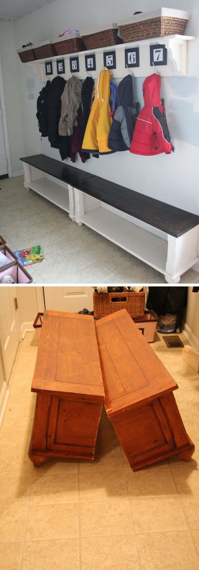 Table To Entryway Benches #furniture #makeover #decorhomeideas