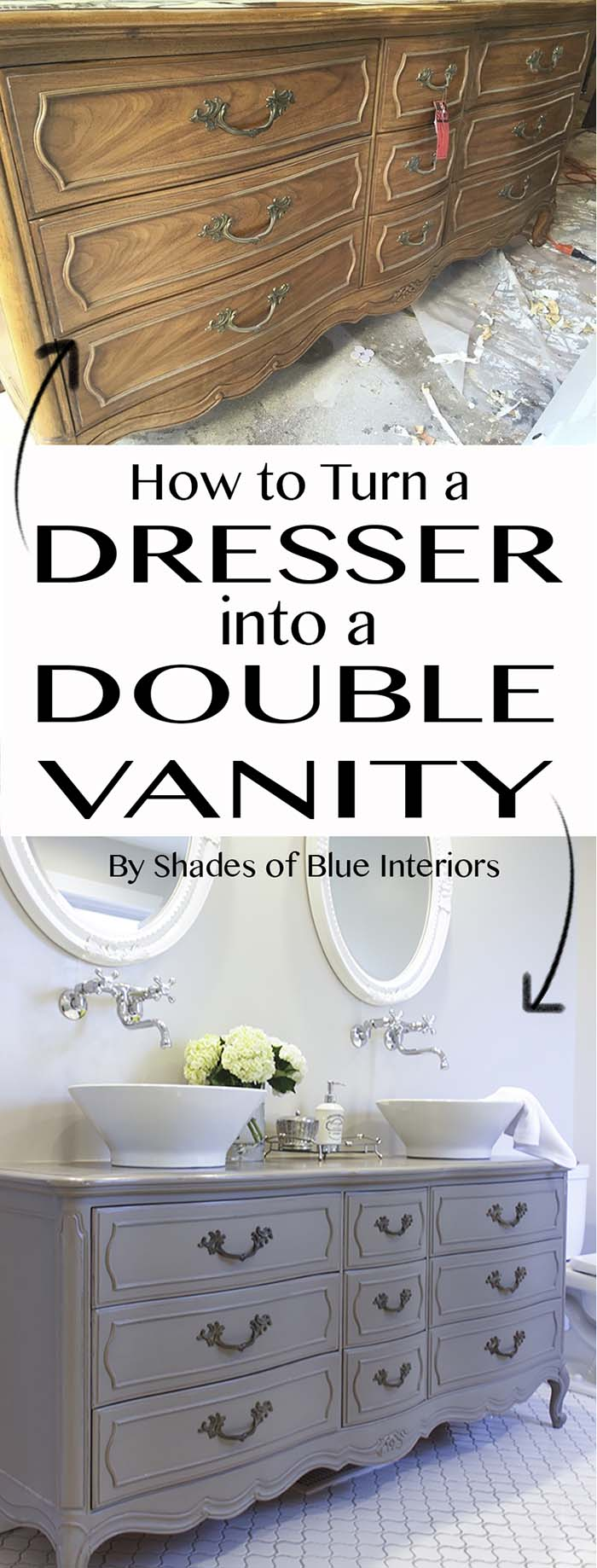 Turn Dresser To Double Vanity #furniture #makeover #diy #decorhomeideas