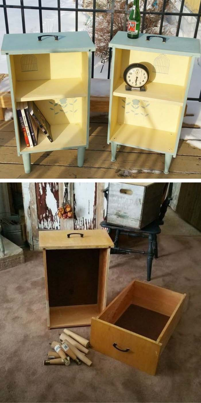 DIY Side Tables From Old Drawers #diy #furniture #makeover #repurpose #decorhomeideas
