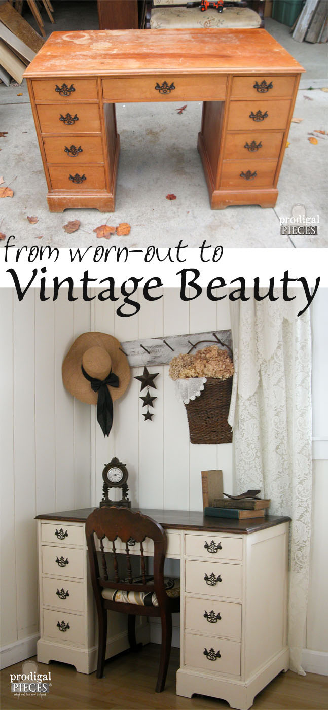 Vintage Desk Makeover #furniture #makeover #diy #decorhomeideas