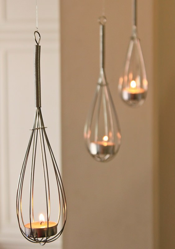 Use Old Whisks To Create Candle Holders #repurpose #reuse #kitchen #utensil #decorhomeideas
