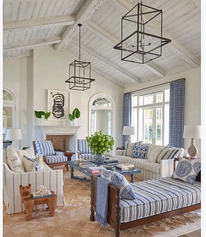 Beach House Living Room With Vaulted Ceiling #ceiling #livingroom #vaulted #decorhomeideas