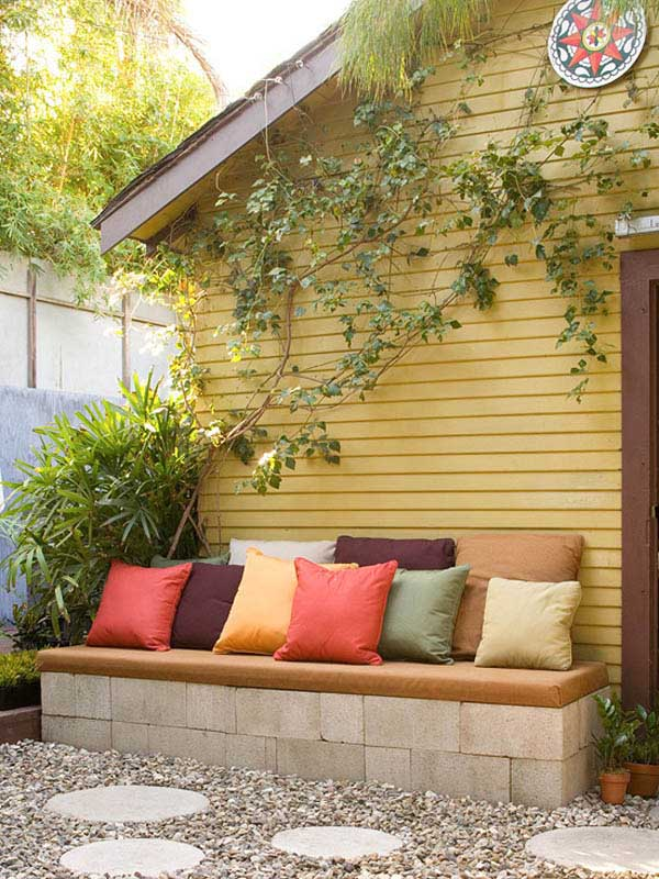 Cinder Blocks Bench #cinderblock #garden #decorhomeideas