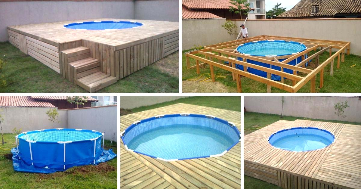 Diy above ground swimming pool with deck decor home ideas for Above ground pool storage ideas