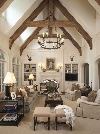 Farmhouse Living Room With Vaulted Ceiling #ceiling #livingroom #vaulted #decorhomeideas