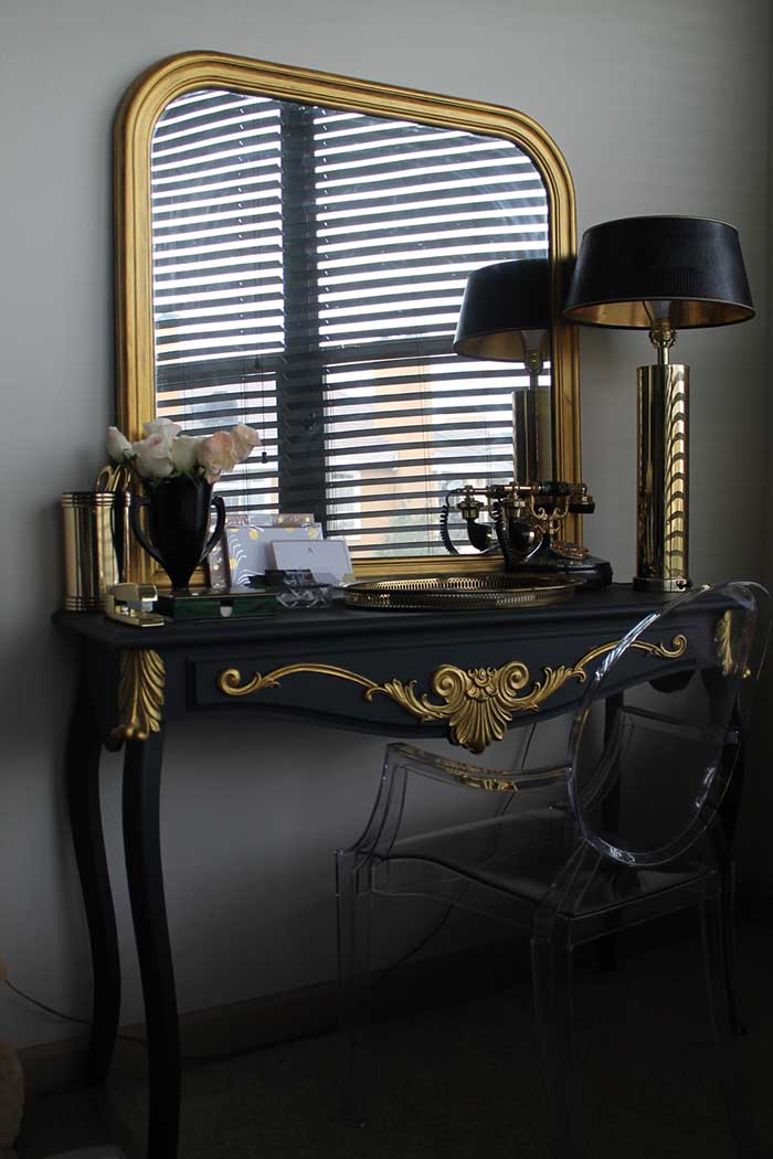 Golden Frame Mirror With Vanity