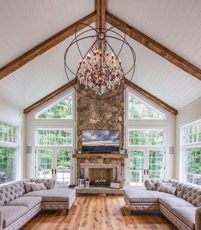 Living Room With High Ceiling #ceiling #livingroom #vaulted #decorhomeideas
