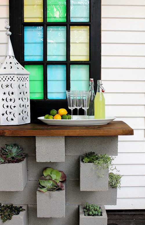 Outdoor Bar From Cinder Blocks #cinderblock #garden #decorhomeideas