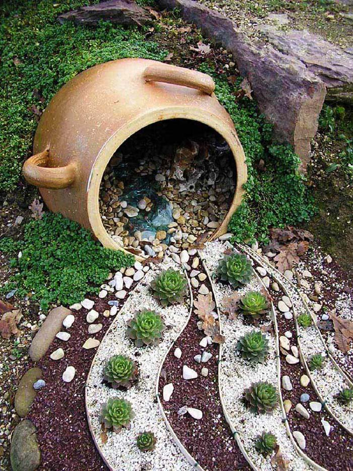 Pebbles  And Succulents Flower Pot #garden #decorhomeideas