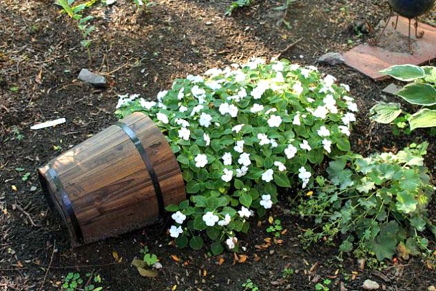 Small White Flowers In Spilled Flower Pot #garden #decorhomeideas