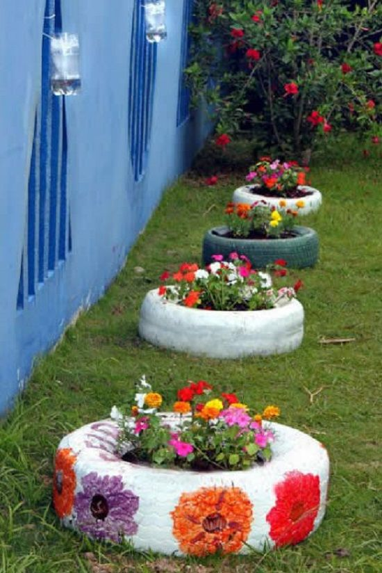 Colorful Garden Planter From Old Tires #garden #oldtires #decorhomeideas