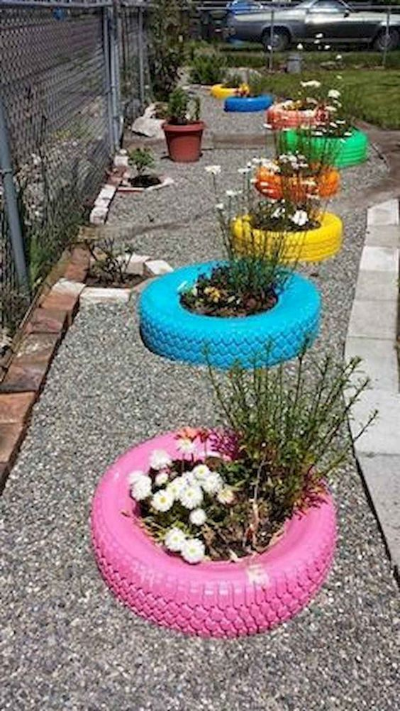 Colorful Tires Planters #garden #oldtires #decorhomeideas