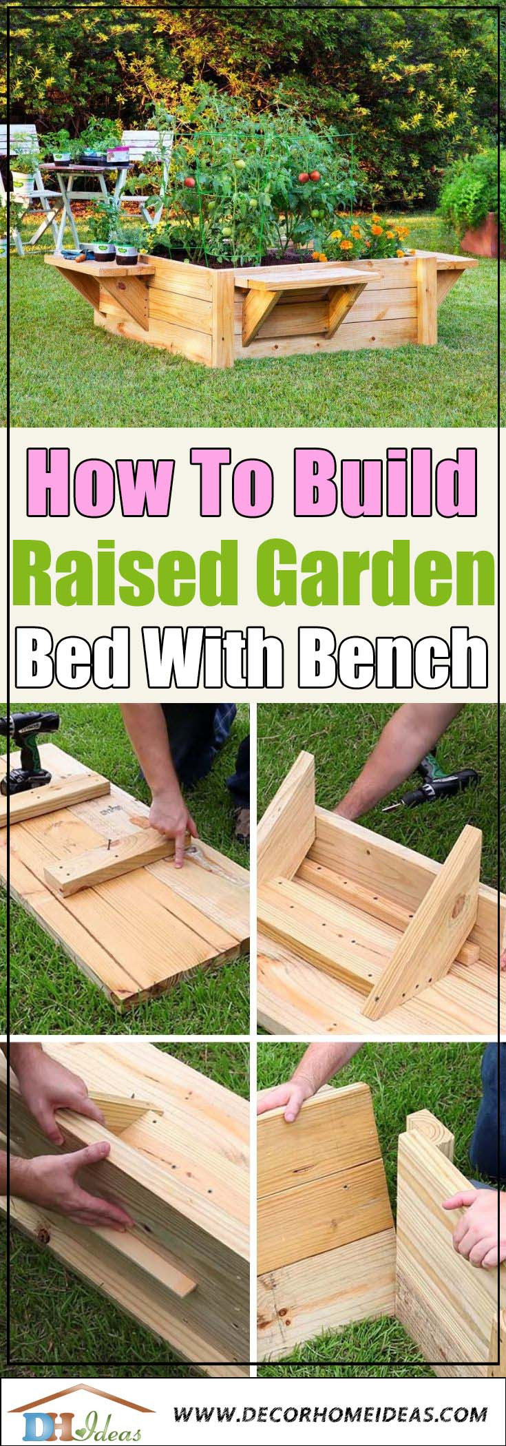 DIY Raised Garden Bed With Benches Tutorial