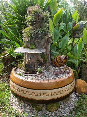 Fairy Garden From Old Tire #garden #oldtires #decorhomeideas