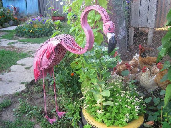 Flamingo From Old Tire Garden Decor #garden #oldtires #decorhomeideas