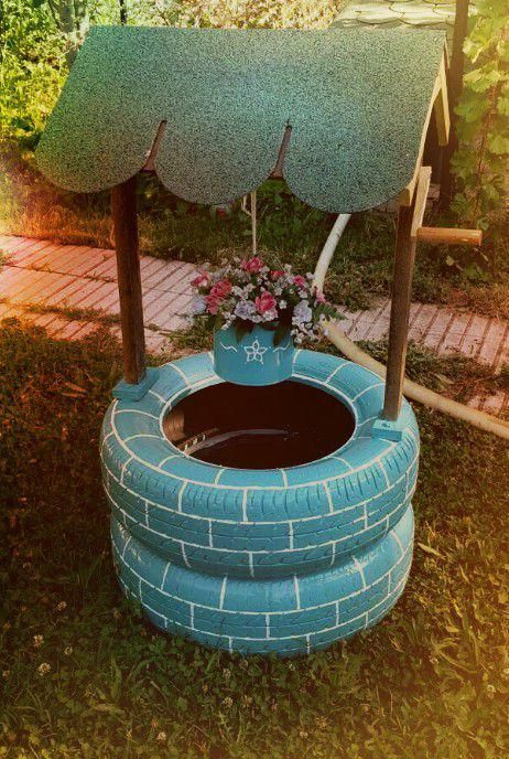 Garden Well Decor From Old Tires #garden #oldtires #decorhomeideas