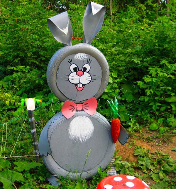 Smiling Rabbit Old Tires Garden Decor #garden #oldtires #decorhomeideas
