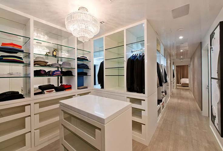 Walk In Closet With Glass Racks #closet #storage #decorhomeideas
