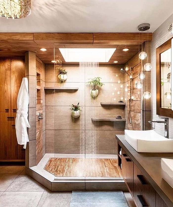 Walk-In Shower Bathroom Design With Teak #bathroom #teak #decorhomeideas