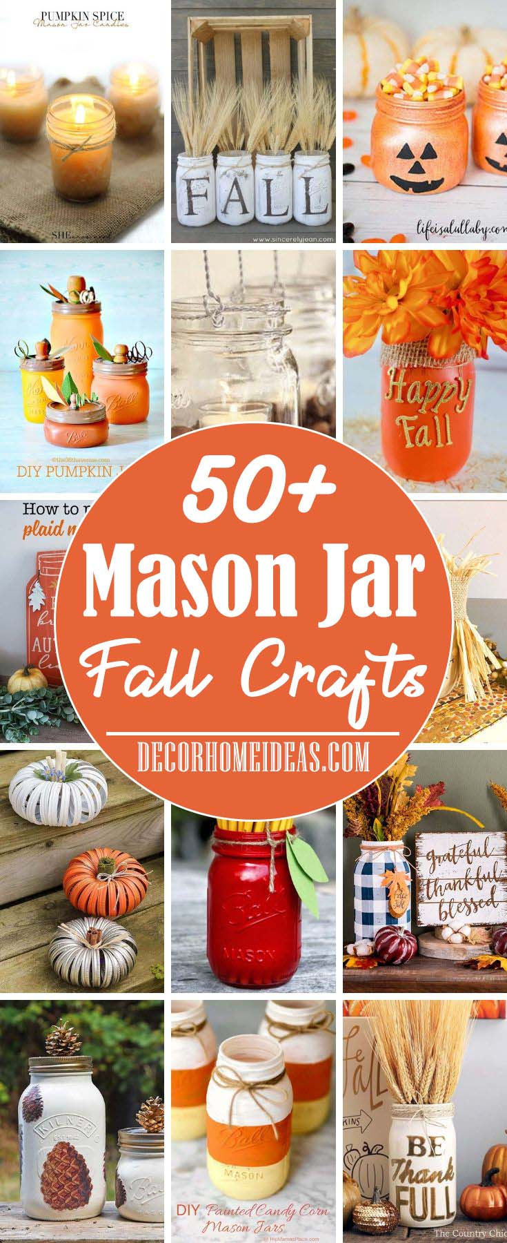 Mason Jar Fall Crafts. DIY Mason Jar Fall Decor projects and tutorials #falldecor #masonjar #decorhomeideas