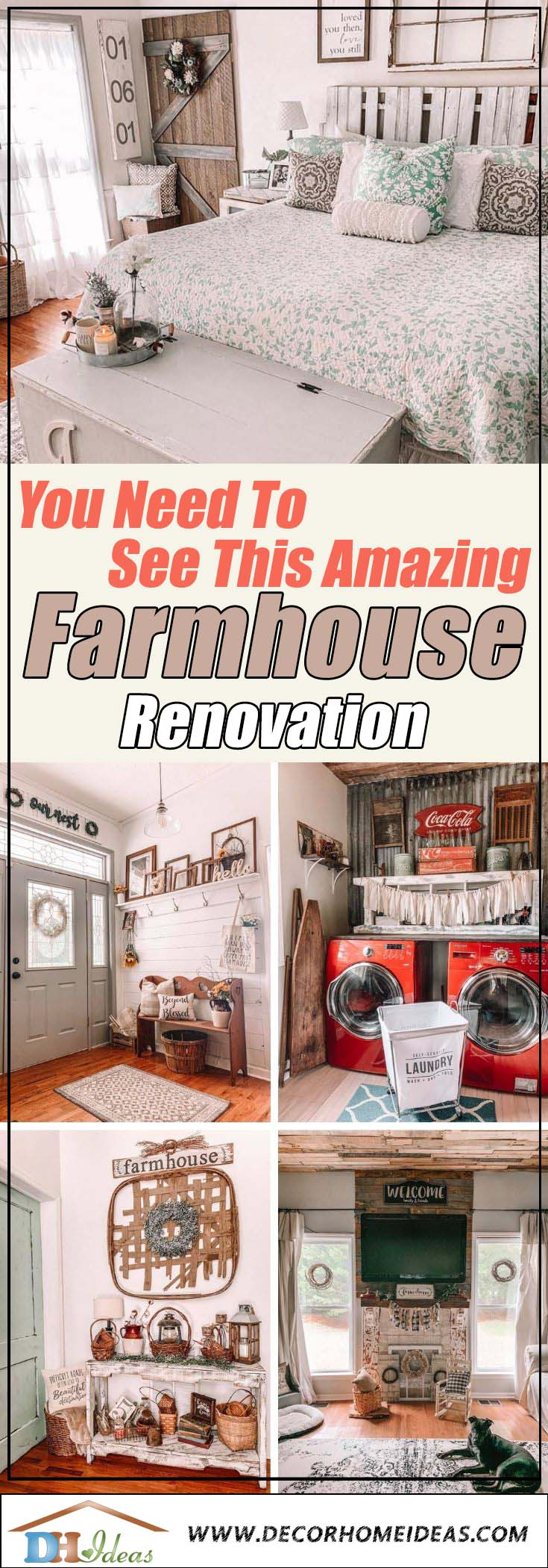 1890's Farmhouse Renovation project. See how this old ruined farmhouse got totally transformed. #farmhouse #makeover #renovation #decorhomeideas