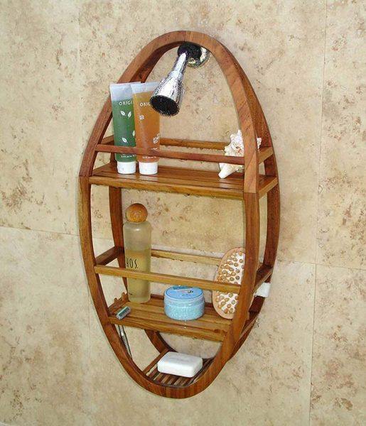 Bathroom Teak Oval Shower Shelf