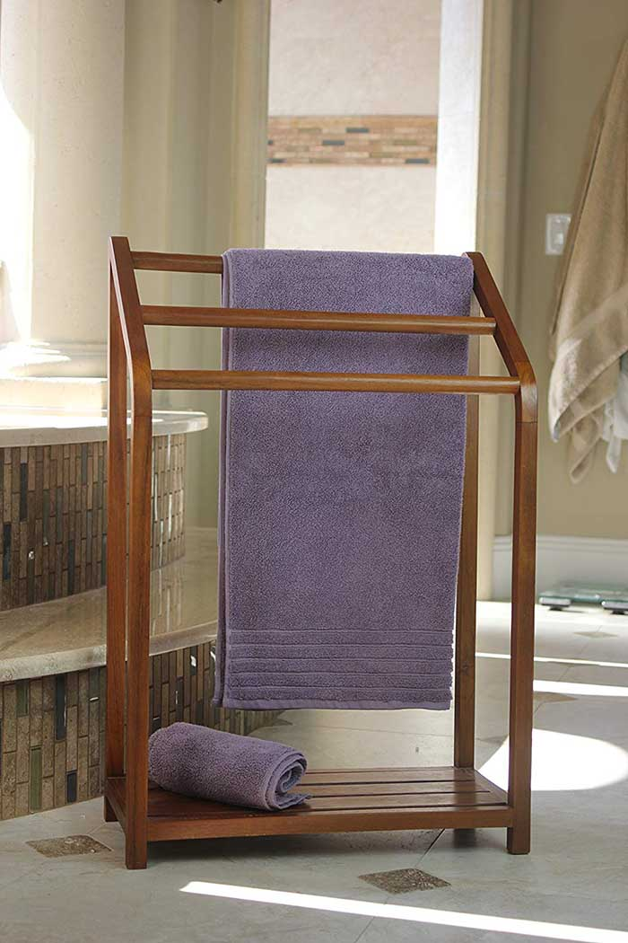 Bathroom Teak Towel Rack