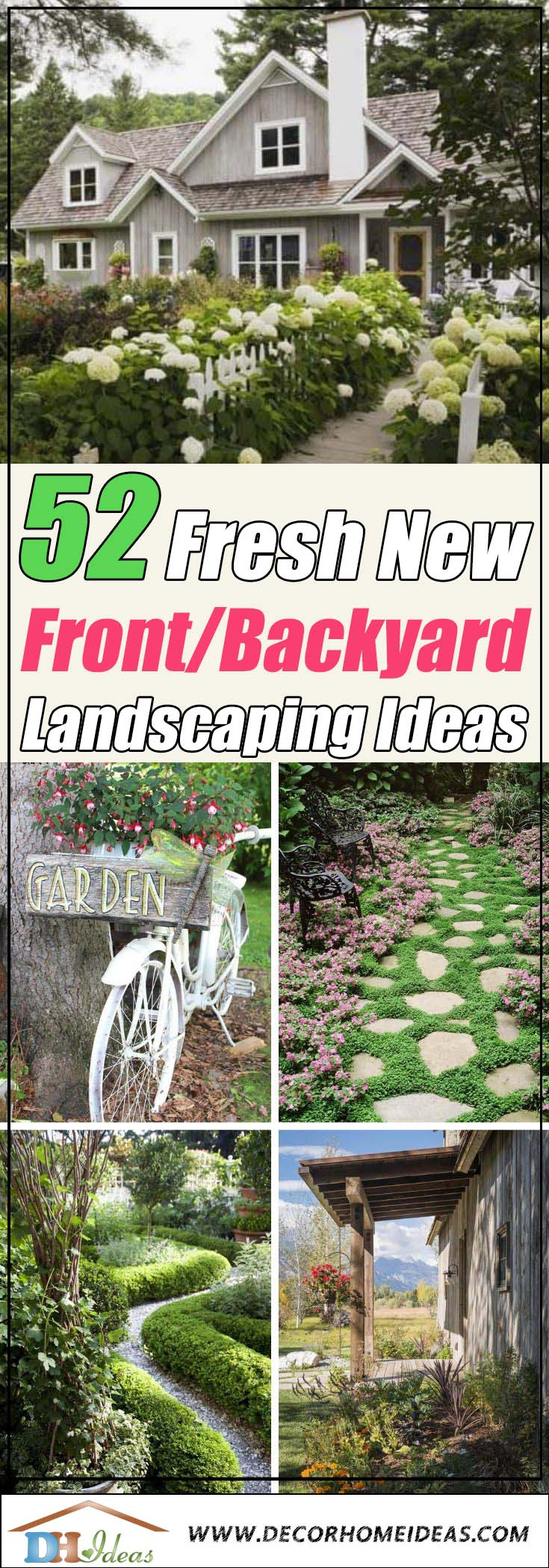 Fresh New Front Yard and Backyard Landscaping Ideas and Designs #garden #landscaping #decorhomeideas