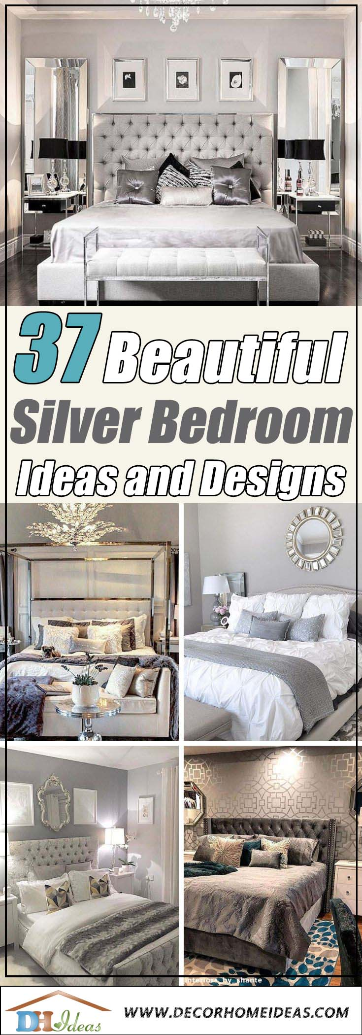 Beautiful Silver Bedroom Ideas and Designs. Silver and pink, silver and white, silver and grey, silver and teal or purple and gold. #bedroom #silver #decorhomeideas