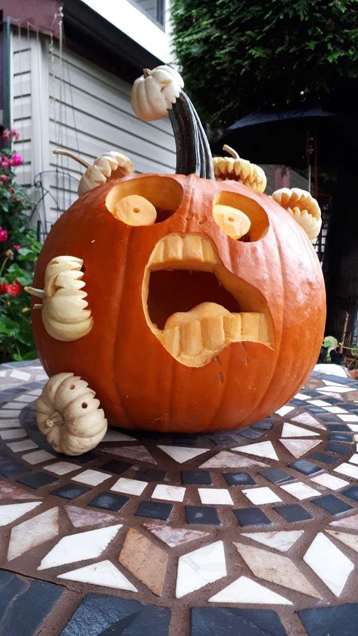 Pesky Puny Pumpkin Attack Carvings