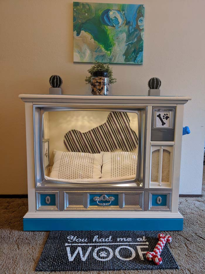DIY Dog Bed From Old TV Console