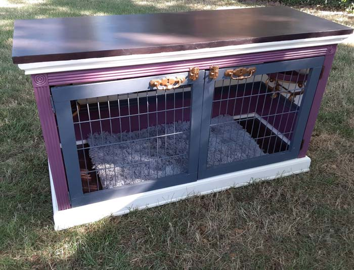 DIY dog bed from old TV stand
