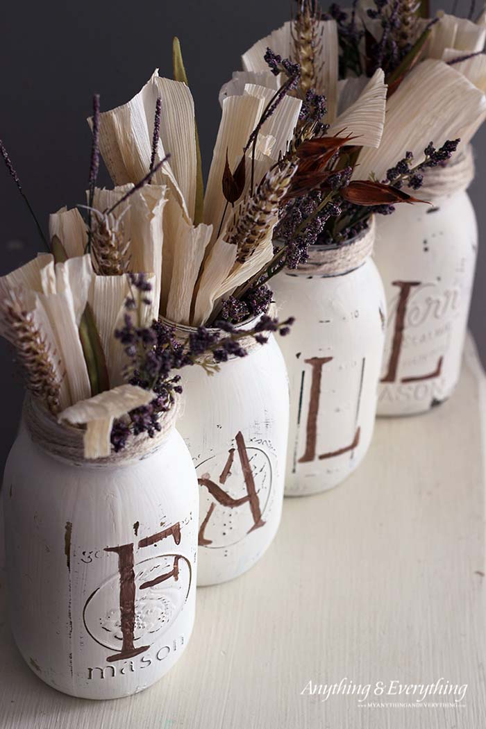 Fall Decor Mason Jar Vases #falldecor #masonjar #decorhomeideas