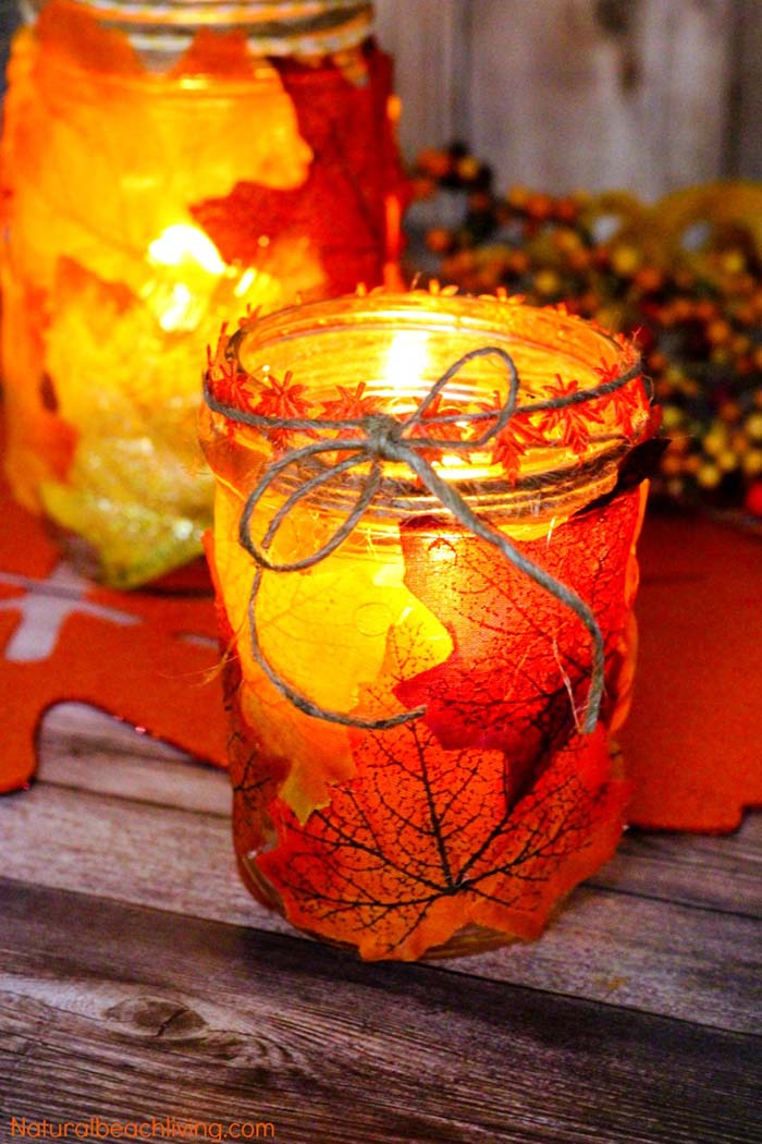 Fall Leaf Candle Mason Jar #falldecor #masonjar #decorhomeideas