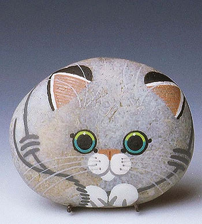 Fluffy Cat Painted Rock