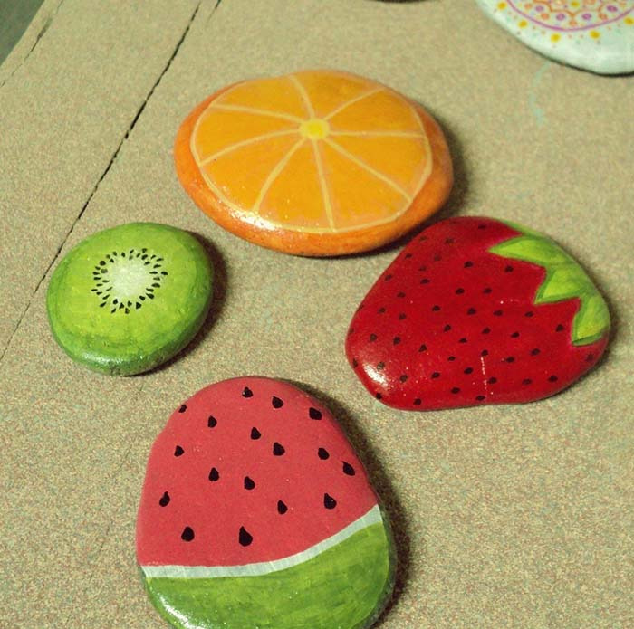 Fruits Painted Rocks